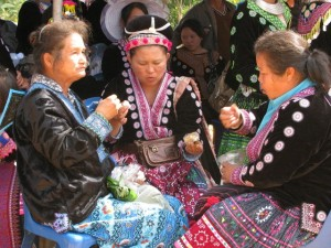 Hmong old ladies enjoying New Year
