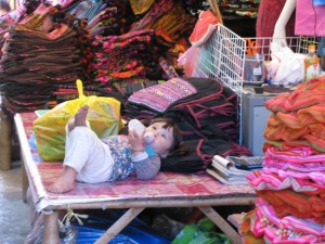 Little girl living in the market